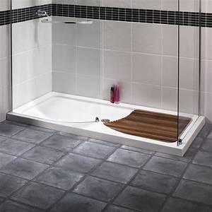 receveur douche en bois mzaolcom With porte de douche coulissante avec caillebotis salle de bain teck