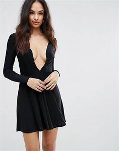 plunge front skater dress by club l black With robe forme patineuse