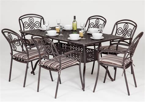 brompton metal garden rectangular set garden furniture