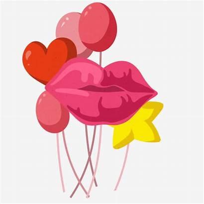 Balloon Illustration Lips Drawn Decoration Hand Psd