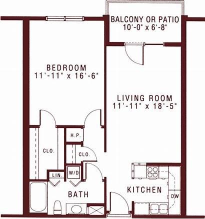 Bedroom Apartments Balcony Floor Plans Floorplan Ft