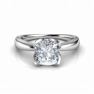 petal design cushion cut solitaire diamond engagement ring With diamond ring for wedding