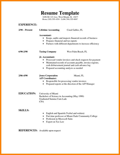 Resume Outline Sle by 9 Simple Resumes Exles Writing A Memo