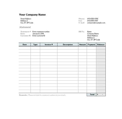 billing statement templates medical legal itemized