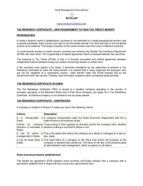 dubai tax residency certificate