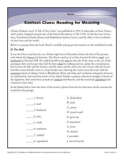 context clues reading for meaning context cues vocab