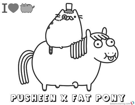 pusheen coloring pages pusheen ride fat pony