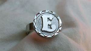 Solid silver signet ring with the letter e catawiki for Letter e ring