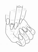 Nail Coloring Clipart Pages Adult Colouring Hand Printable Sketch Drawings Acrylic Line Designs Nails Long Sheets Print Short Blank Amazon sketch template
