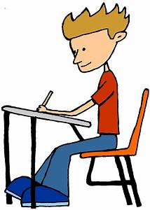 Student Sitting At Desk Clipart