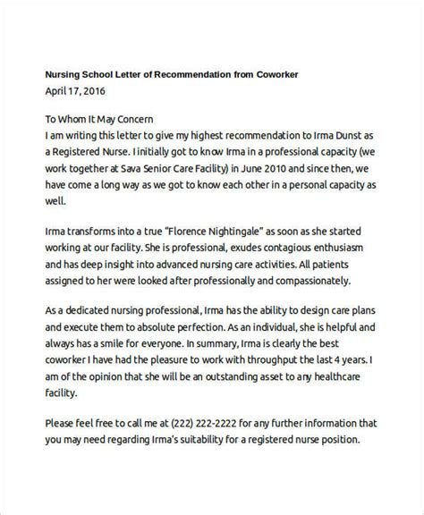 letter of recommendation for nursing school coworker recommendation letter 10 free word pdf