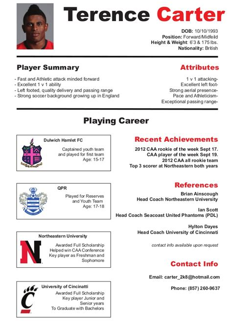 Football Player Cv Resume by Soccer Cv Resume