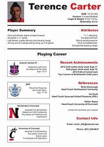 Football Player Cv Template Soccer Cv Resume