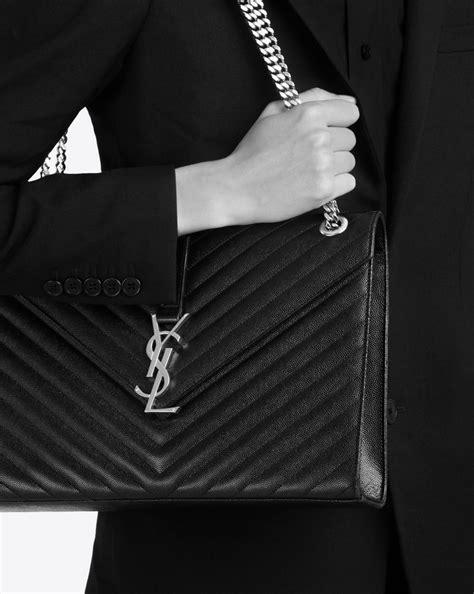 saint laurent large envelope chain bag  black textured matelasse leather yslcom
