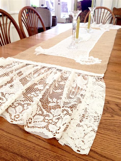 shabby chic table linens burlap table runner farmhouse vintage linens lace shabby chic