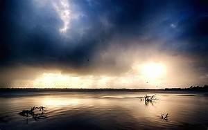 Photography, Landscape, Nature, Estuaries, River, Dark, Clouds, Storm, Sunlight, Australia