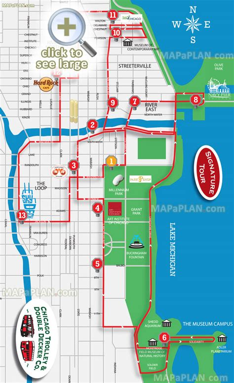chicago maps top tourist attractions free printable