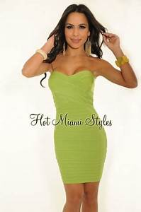 HMS EXCLUSIVE Lime Green Strapless LUXE Bandage Dress