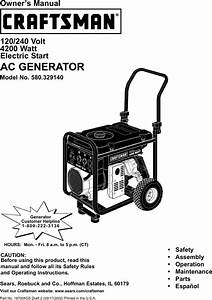 Craftsman 580329140 User Manual Generator Manuals And