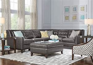 Reina gray leather 5 pc sectional living room leather for 5 pc sectional sofas