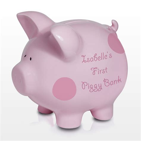 childrens piggy personalised baby piggy bank pink coin box