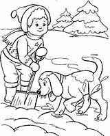 Coloring Snow Pages Winter Boy Sheets Dog Playing Children Sheet Dogs Skiing Hidden Boys Anycoloring Kaynak sketch template
