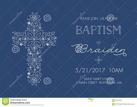 Baptism Christening Invitation Template With Ornate Cross