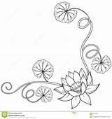 Lotus Leaves Loto Krullende Angolo Blocco Fogli Riccio sketch template