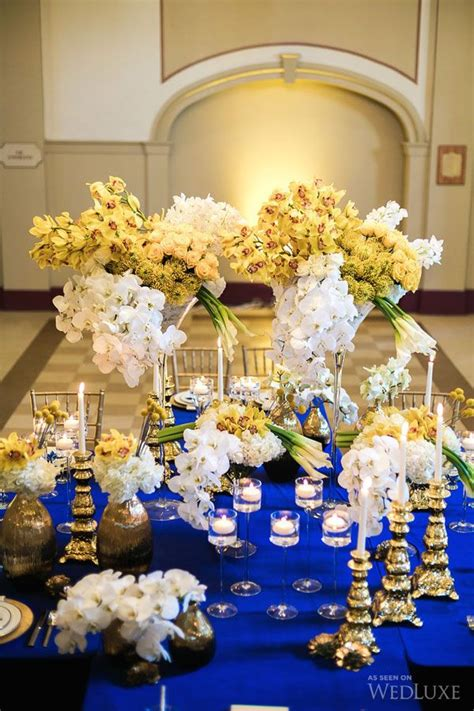 Royal Blue Tablescapes & Place Settings Blue yellow