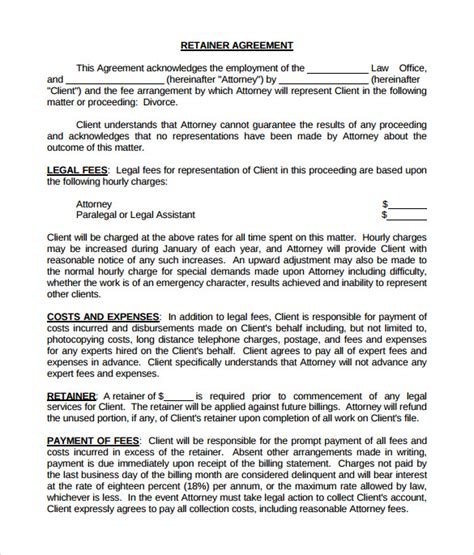 sample retainer agreement   ms word