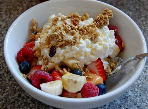 Fruit And Cottage Cheese Fruit Granola Cottage Cheese Drizzled With Honey