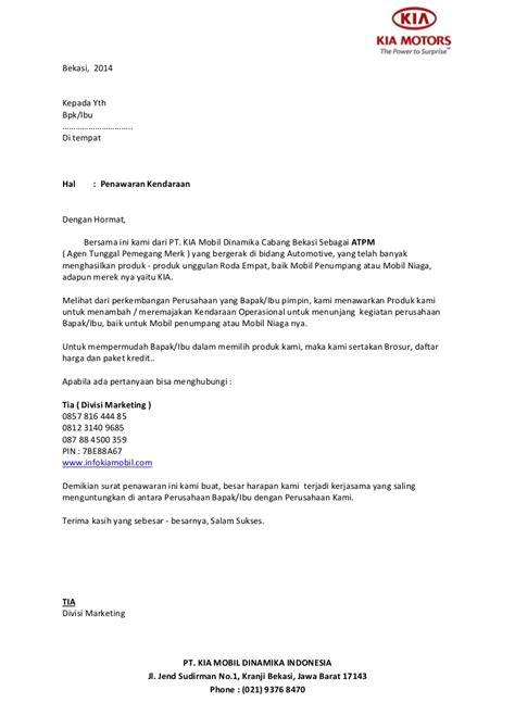 Contoh Surat Penawaran Barang Kantor by Surat Penawaran Kendaraan Bermotor Kia