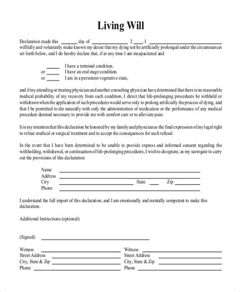 living will sle free living will form 8 free documents in doc pdf