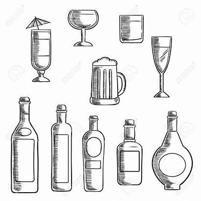 Liquor Alcohol Bottles Whiskey Clipart Beer Sketch