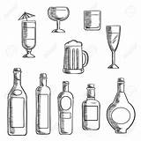 Liquor Bottles Alcohol Beer Whiskey Clipart Bottle Sketch Glasses Wine Drawing Vodka Line Supporting Sterke Cocktail Food Filled Beverages Mixed sketch template