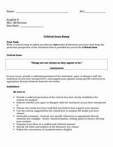 Critical Lens Example Essay Paid Writing Assignments Critical Lens  Critical Lens Example Essay Example