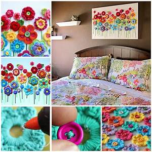 How to diy crochet button flower blossom wall art