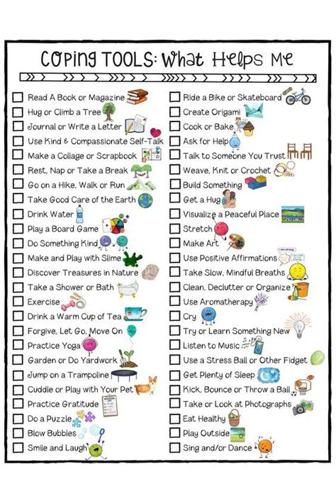 coping skills worksheets worksheet tools young fun help checklist counseling