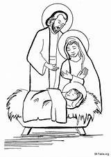Jesus Pages Manger Coloring Nativity Colouring Printable Template sketch template