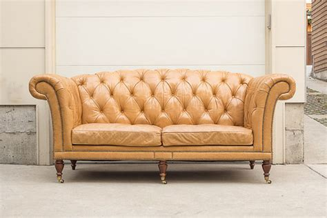 sold high back grand waxed leather tufted chesterfield sofa