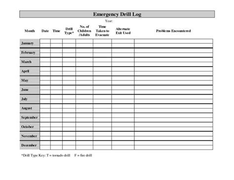 printable monthly fire drill log lifestyle