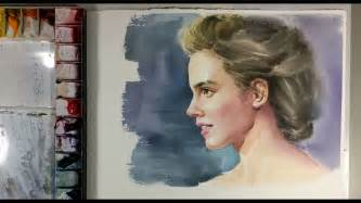 Watercolor Painting Portrait Beautiful Girl Emma