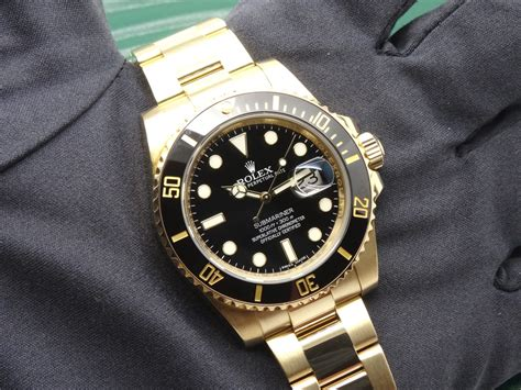 FSOT: Rolex Submariner Date 116618LN 18K Yellow Gold Black ...
