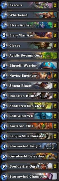 hearthstone best free warrior deck basic deck warrior