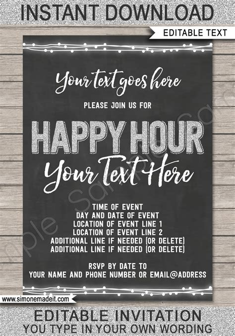 happy hour invitation template printable happy hour invite