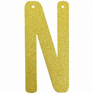 glitter letter banner garland 6inch gold letter n With gold glitter banner letters