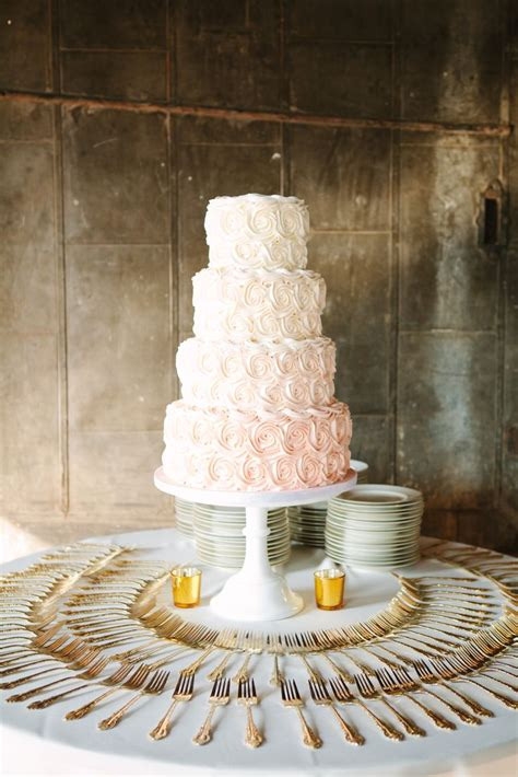 ombre blush pink rosettes buttercream wedding cake