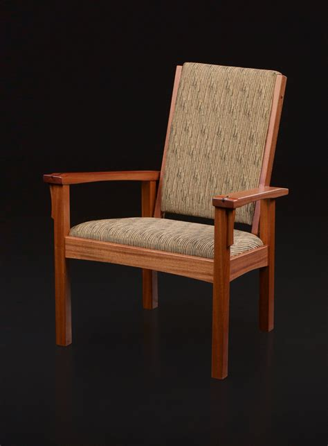 adjustable  easy chair  curved rails  sapele