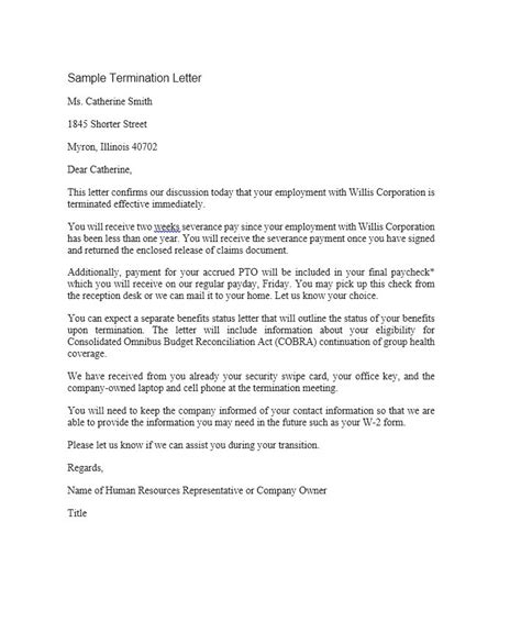 perfect termination letter samples lease employee