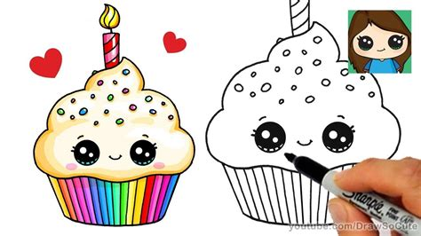 draw  birthday cupcake easy kids fun stuff